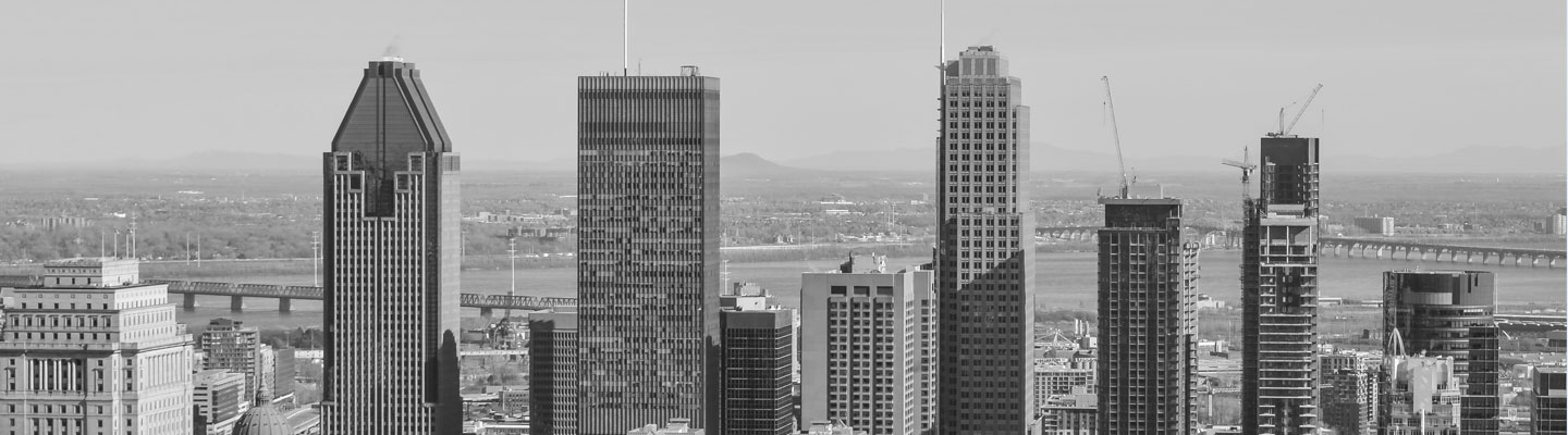 Downtown office skyscrapers, with the St. Lawrence River in the backdrop