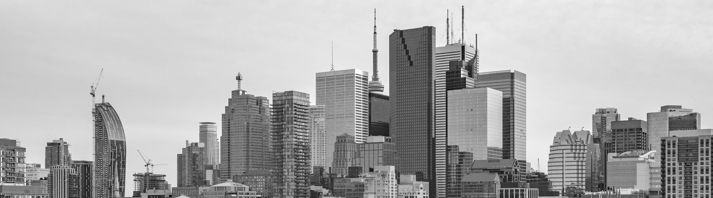 View of Toronto's Financial District skyscrapers
