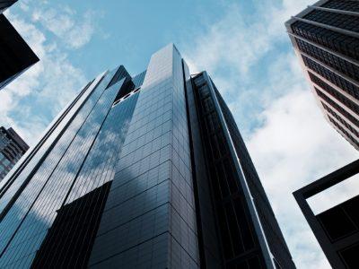 View of skyscrapers looking upward