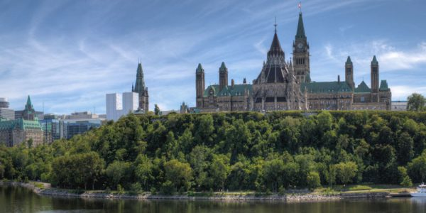 Panoramic image of Parliament Hill, Ottawa
