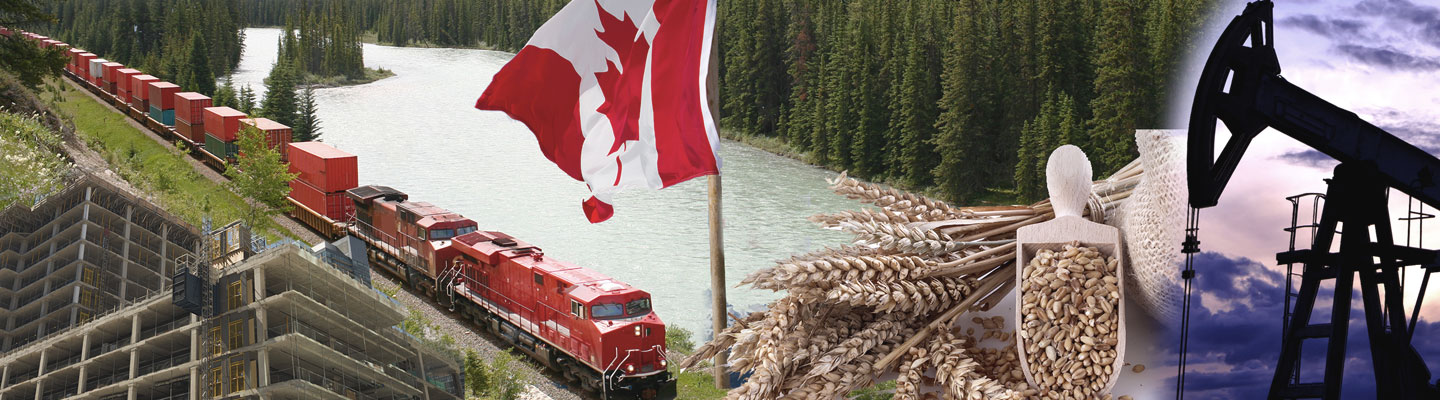 A collage of construction, railway, canadian flag, wheat and oil rig