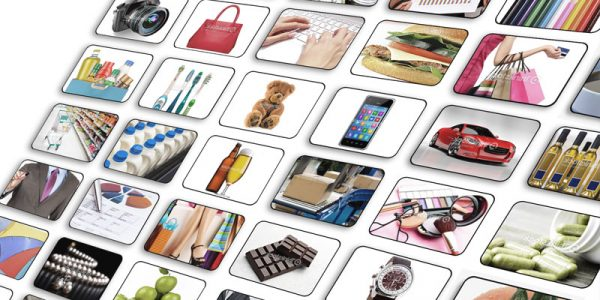 Numerous photos in a grid highlighting various consumer products