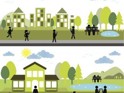 Illustration montrant des personnes dans divers contextes au travail et à la maison