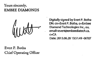 sample of electronic signature with date stamp